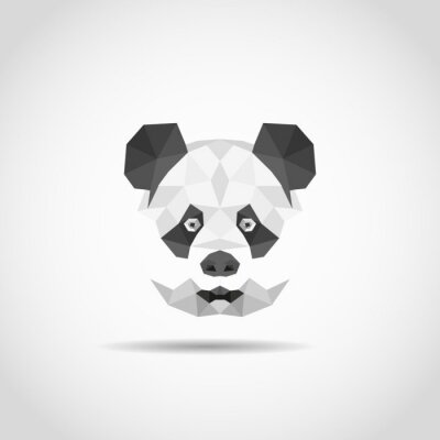 Poster Panda in stile moderno poligonale