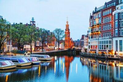 Poster Panoramica di Amsterdam con Munttoren