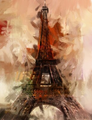 Poster Parigi Gemälde Eiffelturm Eifelturm Bild Kunst Ölgemälde