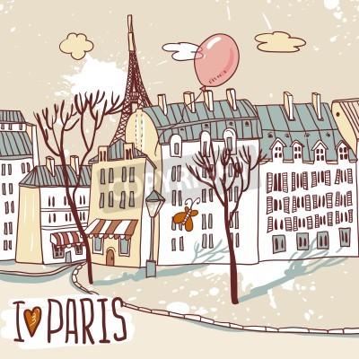 Poster parigi schizzo urbano