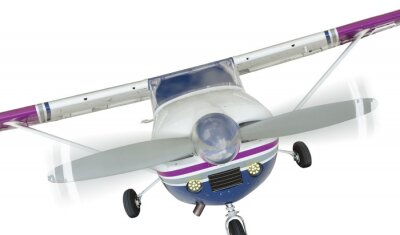 Poster Parte anteriore del Cessna 172 singolo Velivolo ad elica Su Bianco