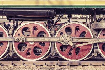 Poster Parte meccanica e ruote della locomotiva a vapore.