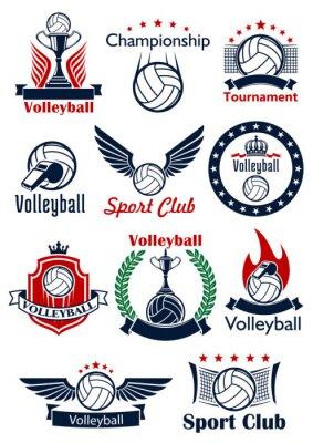 Poster partita di pallavolo icone, emblemi e simboli