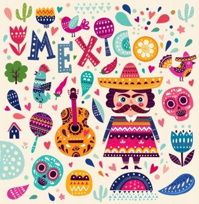 Poster Pattern con simboli del Messico