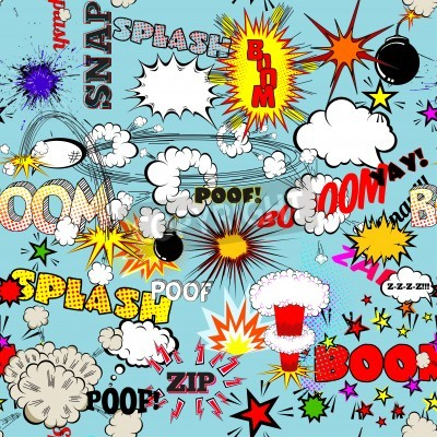 Poster Pattern Vector Retro Seamless con Comic Speech Bubbles, etichette, loghi o Comic Book Words