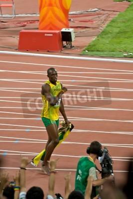 Poster Pechino, Cina - 16 Agosto 2008: campione olimpico sprinter Usain Bolt dopo la vittoria nel 100 metri di corsa olimpica