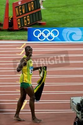 Poster Pechino, Cina - 16 agosto: sprinter Usain Bolt stabilisce il nuovo record del mondo 100 metro per gli uomini