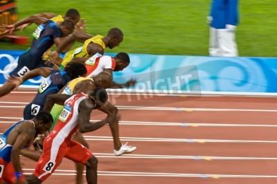 Poster Pechino, Cina 18 ago 2008, Olimpiadi, 100 metro sprint, Inizio di uomini