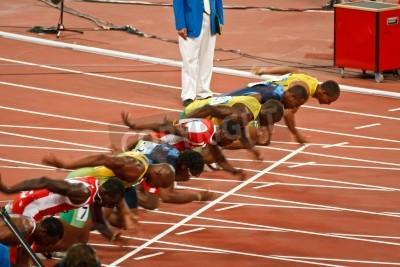 Poster Pechino, Cina, Olimpiadi - 18 AGOSTO 2008: 100 metro linea di partenza sprint, Inizio di Uomini