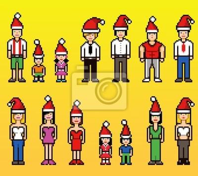 Immagini Natale 400 X 150 Pixel.Poster Persone Pixel Art In Natale Cappelli Di Santa Natale Isolato