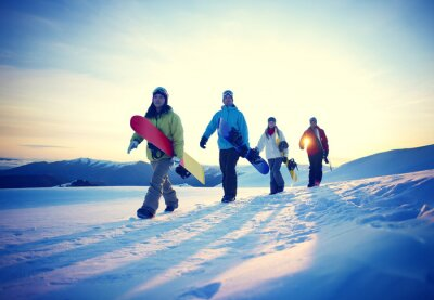 Poster Persone Snowboard Sport invernale concetto di amicizia