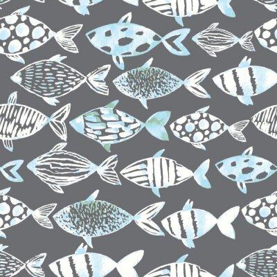 Poster pesci bianchi acquerello luce sullo sfondo grigio.