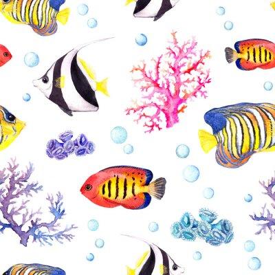 Poster pesci esotici, coralli marini e palline d'acqua. Ripetendo modello. Acquerello