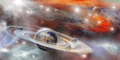 Poster Pianeta nello spazio con numerose sistema ad anello