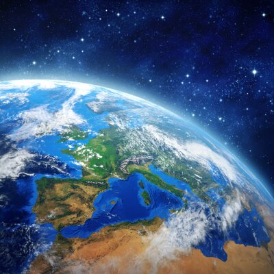 Poster pianeta terra nello spazio esterno