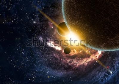 Poster Pianeti sopra le nebulose nello spazio