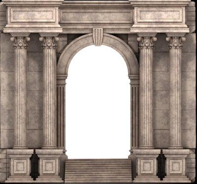 Poster Pietra passi e Entry Way con colonne corinzie. Rendering 3D.