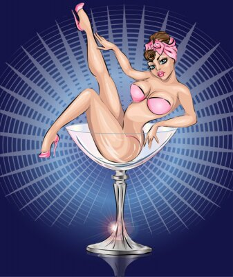 Poster Pin up girl sexy indossando bikini rosa in vetro del Martini