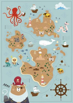 Poster Pirate map for children in a Scandinavian style. Vector illustration. Perfect for play room design and posters for your child's room.