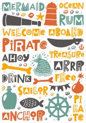 Poster Pirate party hand written lettering poster. Colorful grunge banner with ink drops and stylized phrases. Decoration print.