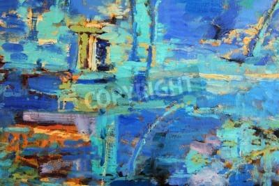 Poster Pittura a olio astratta con il blues predominanti