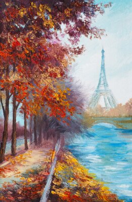 Poster Pittura a olio di Torre Eiffel, Francia, paesaggio autunnale