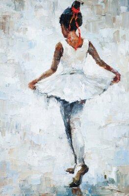 Poster pittura a olio, ragazza ballerina. disegnato danza carino ballerina