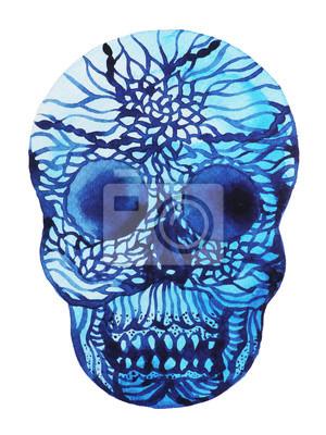 Poster pittura ad acquerello design illustrazione zucchero astratto cranio
