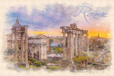 Poster pittura ad acquerello effetto illustrazione di un alba sopra il foro romano