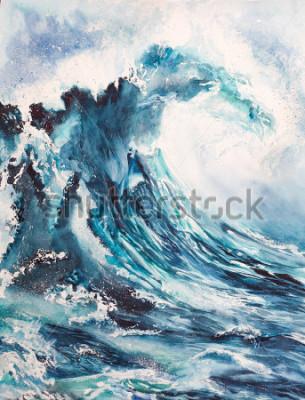 Poster pittura ad acquerello mare onda