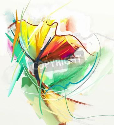 Poster Pittura ad olio astratta di fiori di primavera. Still life di colore giallo e rosso color flowe. Astratto Impressionista moderno. Pittura di arte del fiore. Pittura decorativa del fiore