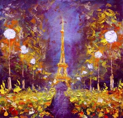 Poster pittura ad olio - Torre Eiffel nella notte Francia da Rybaków