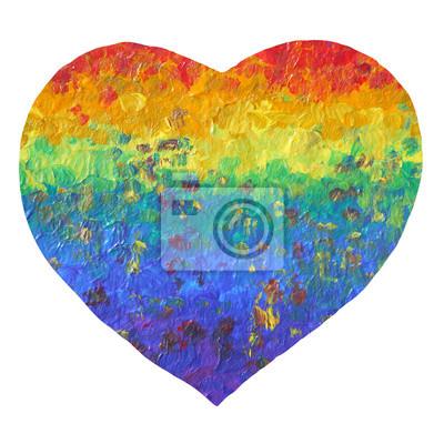 Poster Pittura astratta arcobaleno Cuore, colore acrilico su carta, simbolo