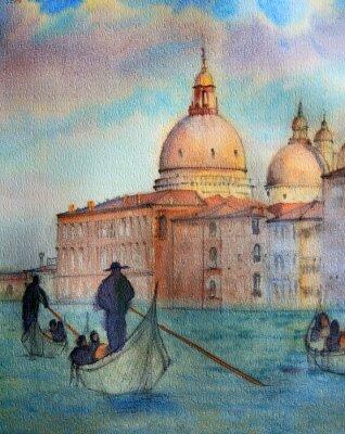 Poster Pittura di Venezia Italia, dipinto da acquerello