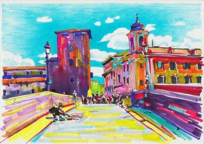 Poster pittura marcatore originale di Roma Italia paesaggio urbano