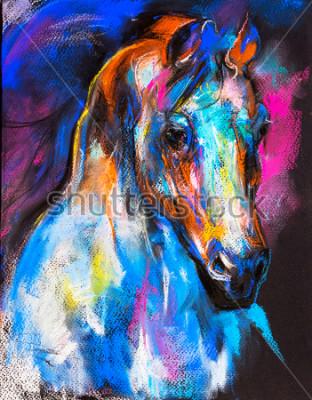 Poster Pittura pastello originale di un cavallo su un cartone. Arte Moderna.