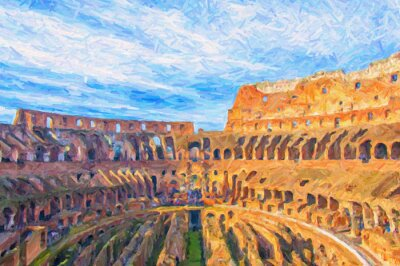Poster Pittura Roma Colosseo digitale