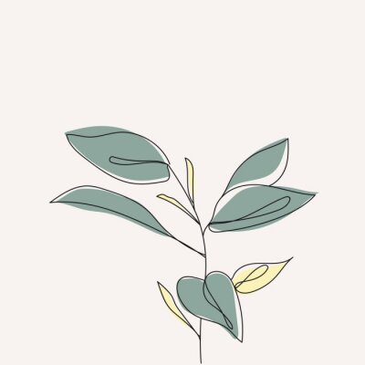 Poster Plant leaves continuous line drawing. One line . Hand-drawn minimalist illustration, vector.