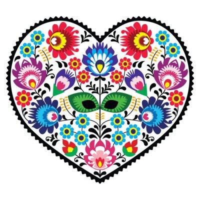 Poster Polacco cuore, arte popolare con i fiori - Lowickie wzory