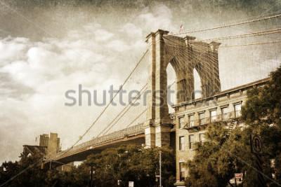 Poster Ponte d'annata Brooklyn Brooks New York di stile dell'annata della foto