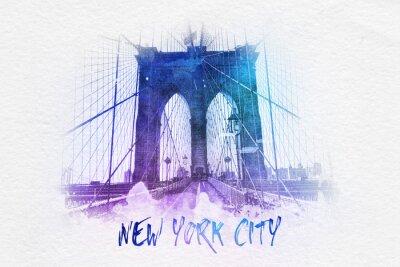 Poster Ponte di Brooklyn con testo di New York City