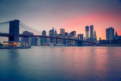 Poster Ponte di Brooklyn e Manhattan al crepuscolo
