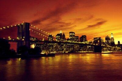 Poster Ponte di Brooklyn e Manhattan al tramonto, New York