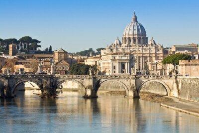Poster Ponte, la basilica e il Tevere a Roma