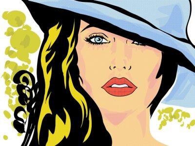 Poster pop art femme chapeau visage, tête