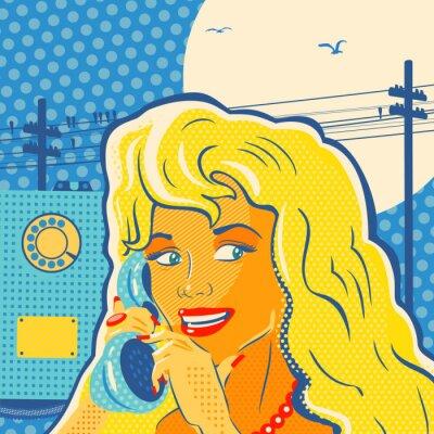 Poster Pop Art Style Telefono della ragazza