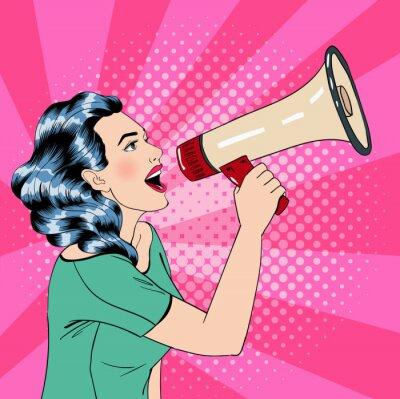 Poster Pop Art Woman Style con il megafono