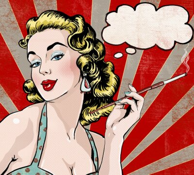 Poster Pop Art  woman with the speech bubble and cigarette.