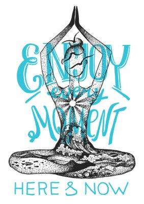Poster Posa di meditazione yoga. Illustrazione disegnata a mano di grafica vettoriale