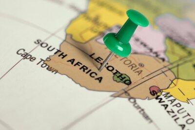 Poster Posizione Sud Africa. Pin verde sulla mappa.